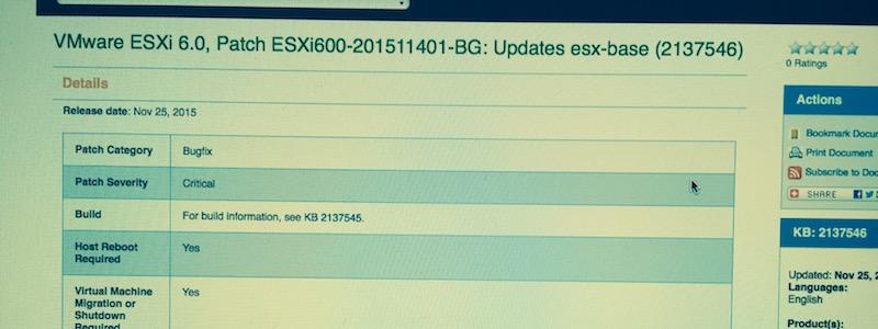 """Un patch pour le bug critique """"CBT"""" sur ESXi 6.0 !"""
